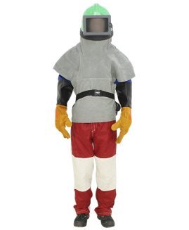Schutzanzug Set Strahlanzug Strahlhelm Staubschutz Handschuhe